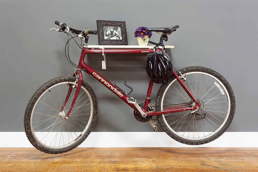 Wall mounted bike rack and shelf from Federal Brace.