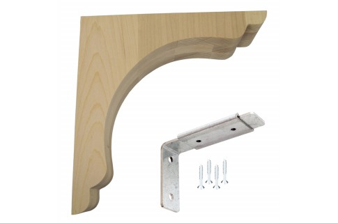 Wood Corbel Scalloped Overhang Bar Bracket
