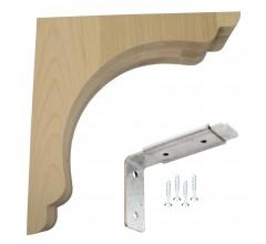 Wood Corbel Scalloped Overhang Bar Bracket