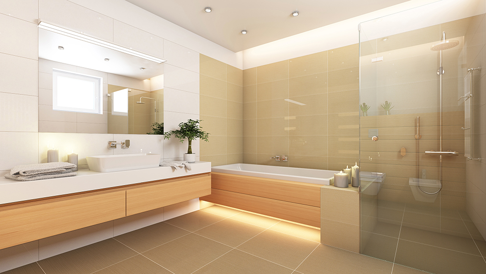 Bright, open bathroom with floating vanity