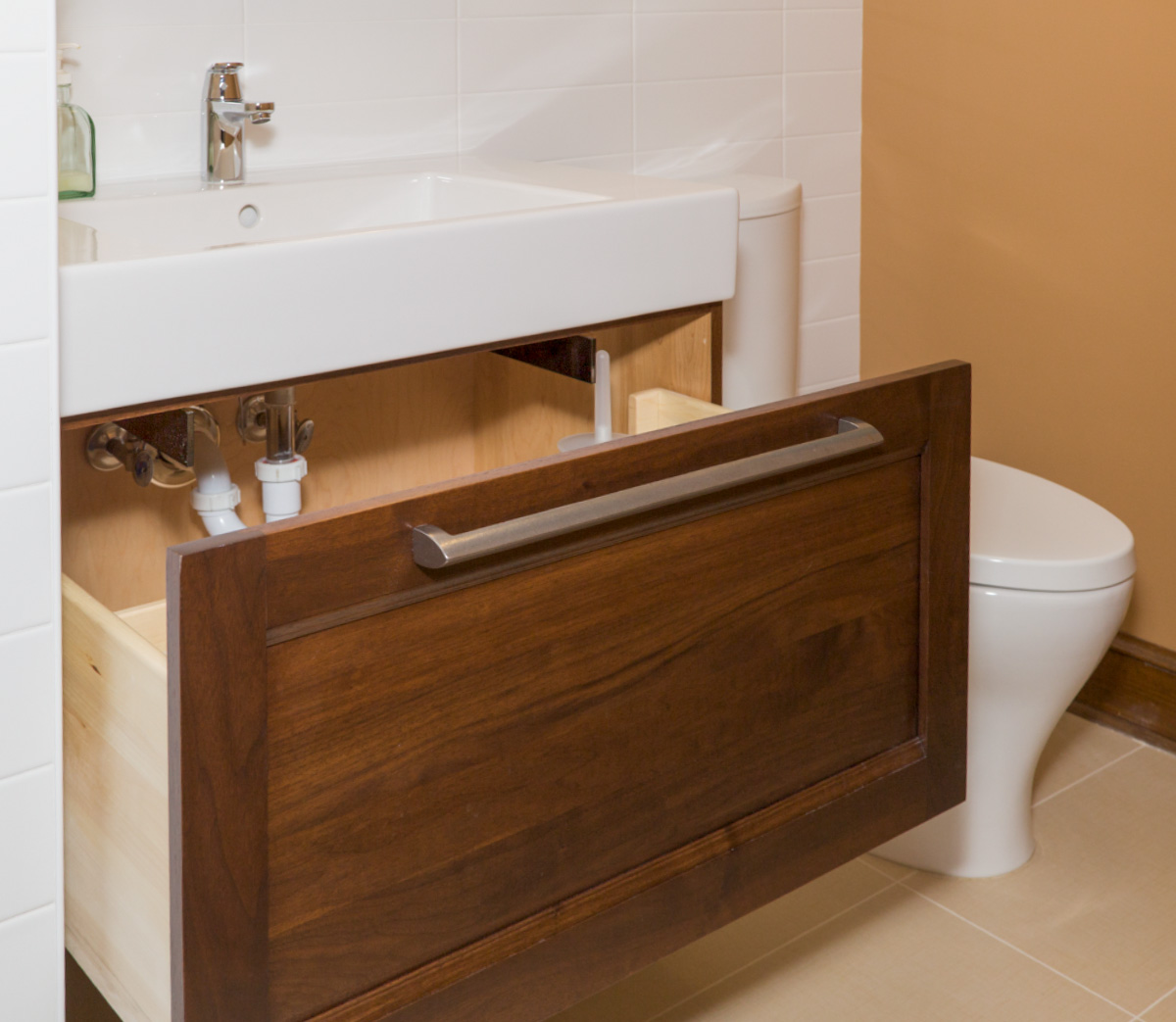 Floating vanity mounting systems in bathrooms federal brace for Floating bathroom vanity brackets