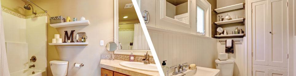 Floating Shelves installed in bath rooms