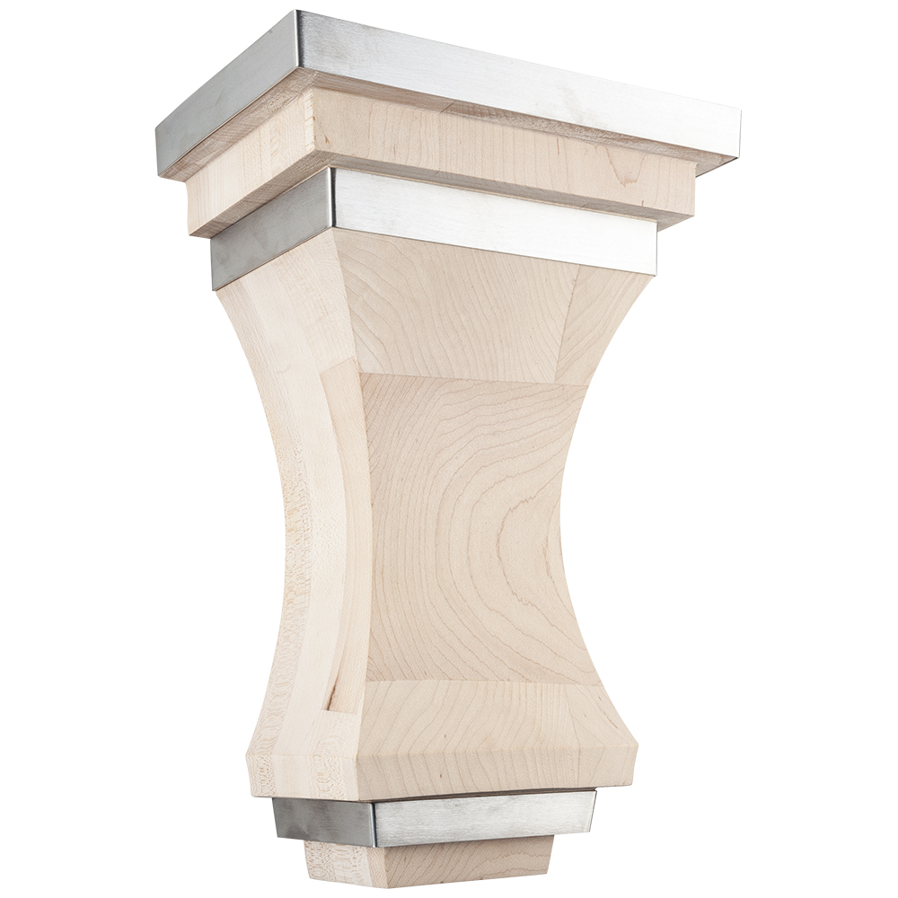 Geneva Wood Corbel with Stainless Steel Accents