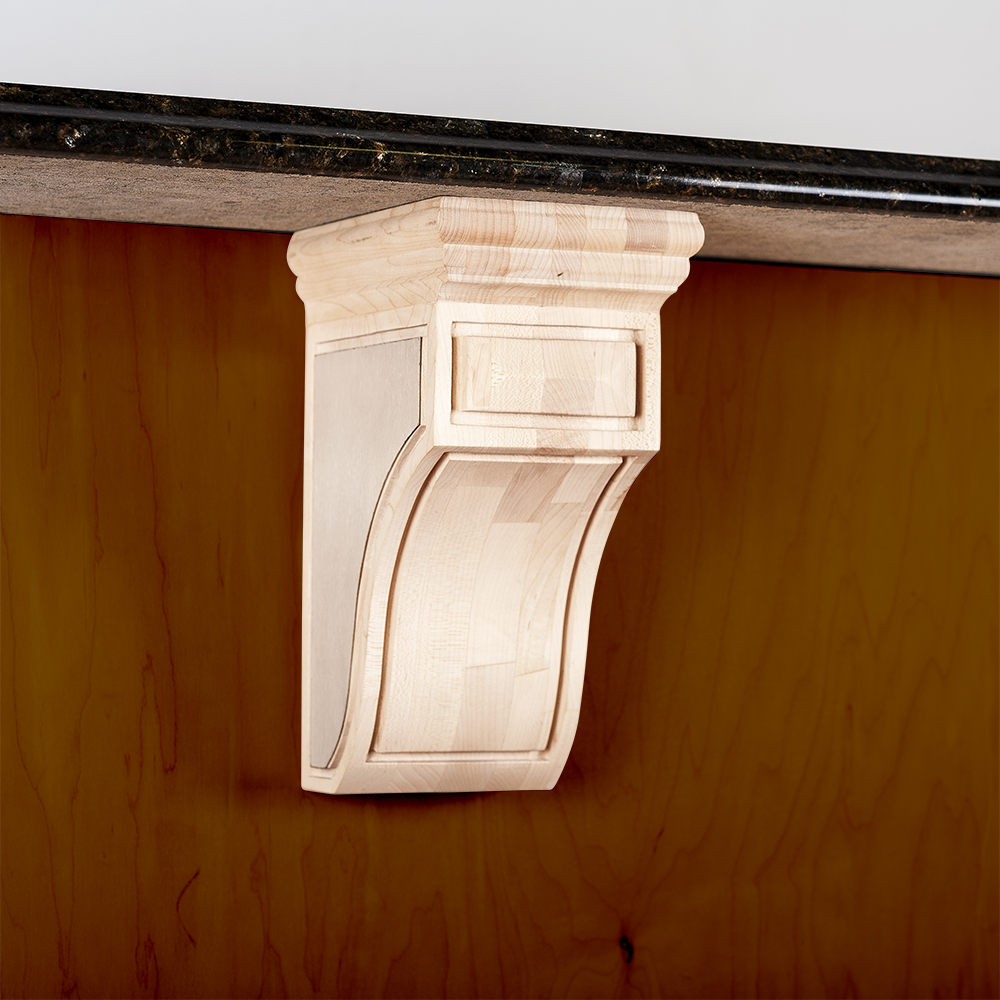 Scroll Mission Wood Corbel with Stainless Steel Accents