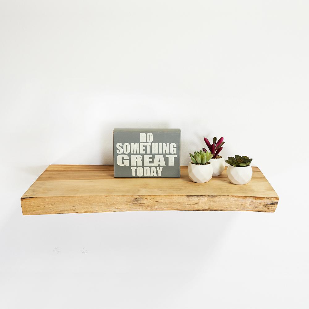 Maple Live Edge Floating Shelf
