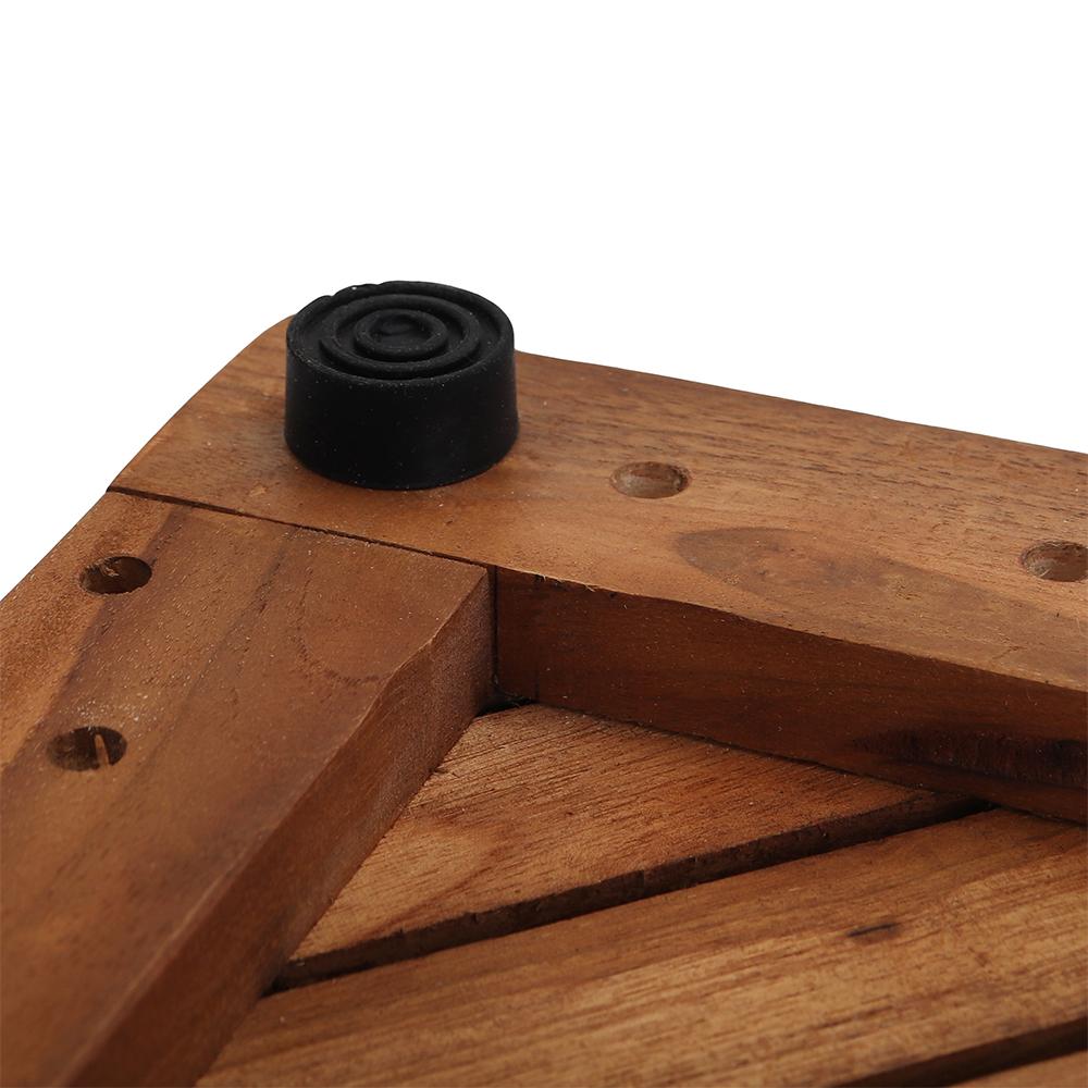 Radial Teak Wood Bath Mat
