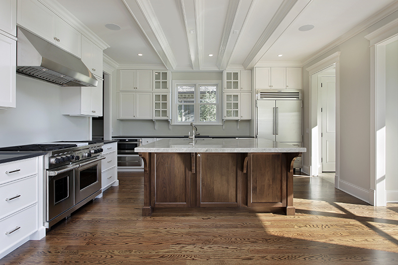 Wood corbels supporting a countertop