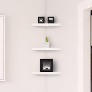 corner floating shelves installed