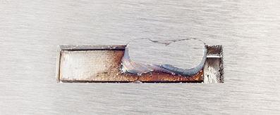 "Example 3 of 3 of Federal Brace 1/2"" bracket fillet weld."