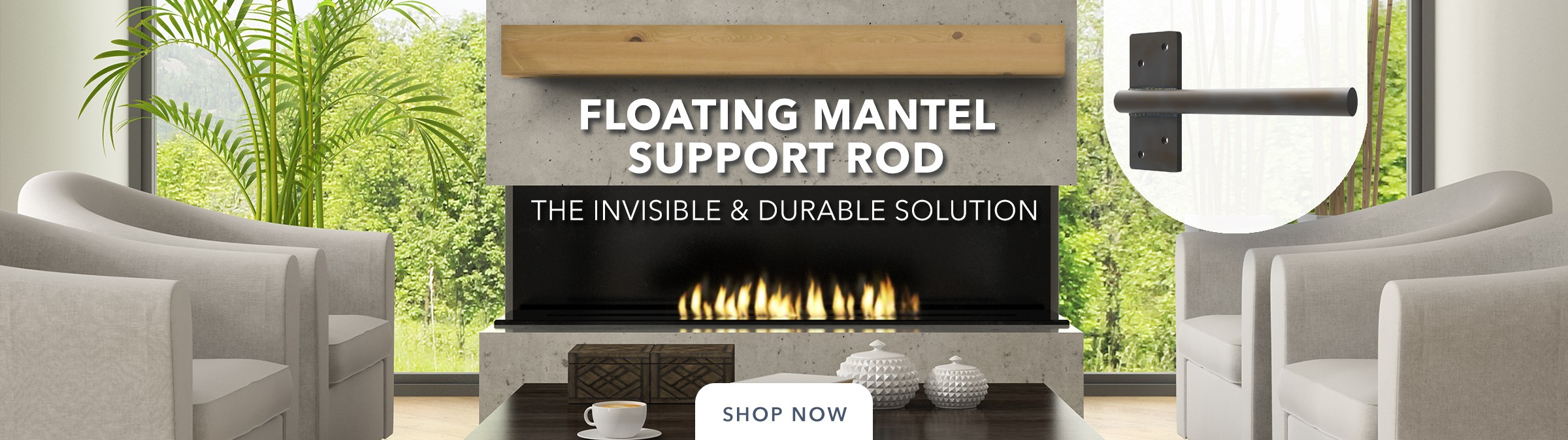 Floating Mantel Support Rod